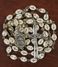Beautiful High Quality Medjugorje Gold and White Rosaries