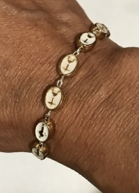 Beautiful High Quality Medjugorje Gold and White Rosary Bracelet